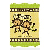 Twin Monkeys Neutral - Personalized Baby Shower Thank You Cards
