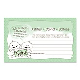 Twin Babies Neutral - Personalized Baby Shower Helpful Hint Advice Cards - 18 ct.