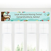 Owl - Look Whooo's Having Twins - Personalized Baby Shower Banner