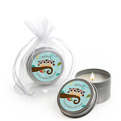 owl  look whooo's having twins  personalized baby shower candle, Baby shower invitation