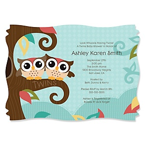 Owl - Look Whooo's Having Twins - Personalized Baby Shower Invitations