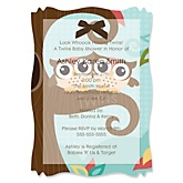 Owl - Look Whooo's Having Twins - Vellum Baby Shower Invitations