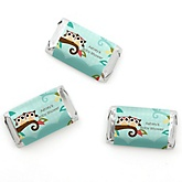 Owl - Look Whooo's Having Twins - Personalized Baby Shower Mini Candy Bar Wrapper Favors - 20 ct