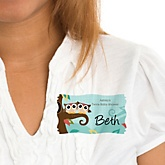 Owl - Look Whooo's Having Twins - Personalized Baby Shower Name Tag Stickers - 8 Count