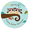 Owl - Look Whooo's Having Twins - Personalized Baby Shower Sticker Labels - 24 ct