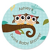 Owl - Look Whooo's Having Twins - Personalized Baby Shower Round Sticker Labels - 24 Count