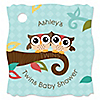 Owl - Look Whooo's Having Twins - Personalized Baby Shower Tags - 20 ct