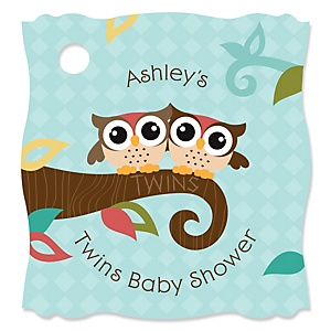 Owl - Look Whooo's Having Twins - Personalized Baby Shower Tags - 20 Count