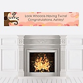 Owl Girl - Look Whooo's Having Twins - Personalized Baby Shower Banners