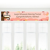 Owl Girl - Look Whooo's Having Twins - Personalized Baby Shower Banner