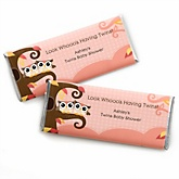 Owl Girl - Look Whooo's Having Twins - Personalized Baby Shower Candy Bar Wrapper