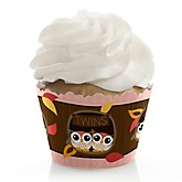 Owl Girl - Look Whooo's Having Twins - Baby Shower Cupcake Wrappers & Decorations