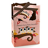Owl Girl - Look Whooo's Having Twins - Personalized Baby Shower Favor Boxes