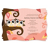 Owl Girl - Look Whooo's Having Twins - Personalized Baby Shower Invitations