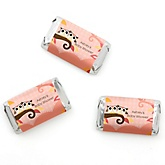 Owl Girl - Look Whooo's Having Twins - Personalized Baby Shower Mini Candy Bar Wrapper Favors - 20 ct