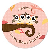 Owl Girl - Look Whooo's Having Twins - Personalized Baby Shower Round Sticker Labels - 24 Count