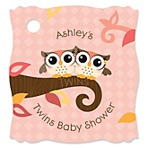 Owl Girl - Look Whooo's Having Twins - Personalized Baby Shower Tags - 20 Count