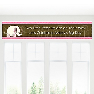 Twin Pink Baby Elephants - Personalized Baby Shower Banners