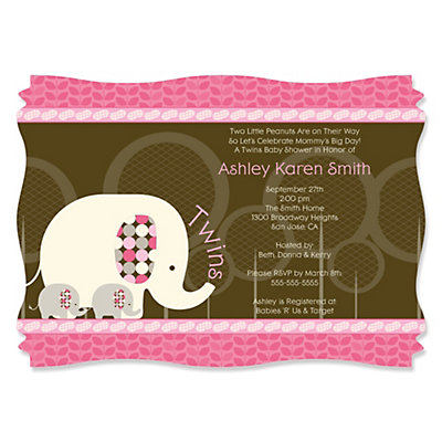 Twin Pink Baby Elephants - Personalized Baby Shower Invitations Baby Shower Party Supplies