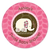 Twin Pink Baby Elephants - Personalized Baby Shower Round Sticker Labels - 24 Count