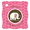 Twin Pink Baby Elephants - Personalized Baby Shower Tags - 20 ct
