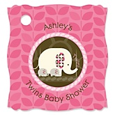 Twin Pink Baby Elephants - Personalized Baby Shower Tags - 20 Count
