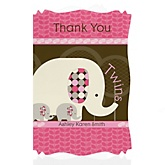Twin Pink Baby Elephants - Personalized Baby Shower Thank You Cards