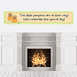Twin Little Pumpkins African American - Personalized Baby Shower Banners