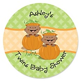 Twin Little Pumpkins African American - Personalized Baby Shower Round Sticker Labels - 24 Count