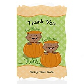 Twin Little Pumpkins African American - Personalized Baby Shower Thank You Cards
