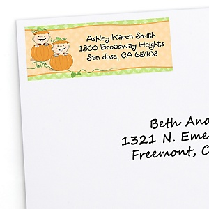 Twin Little Pumpkins Caucasian - Personalized Baby Shower Return Address Labels - 30 ct