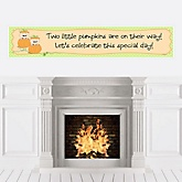 Twin Little Pumpkins Caucasian - Personalized Baby Shower Banners