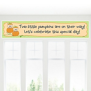 Twin Little Pumpkins Caucasian - Personalized Baby Shower Banner