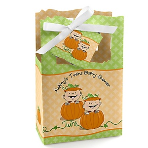 Twin Little Pumpkins Caucasian - Personalized Baby Shower Favor Boxes