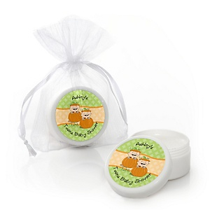 Twin Little Pumpkins Caucasian - Lip Balm Personalized Baby Shower Favors