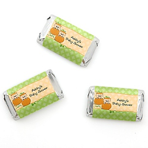 Twin Little Pumpkins Caucasian - Personalized Baby Shower Mini Candy Bar Wrapper Favors - 20 ct