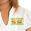 Twin Little Pumpkins Caucasian - Personalized Baby Shower Name Tag Stickers - 8 ct