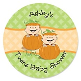 Twin Little Pumpkins Caucasian - Personalized Baby Shower Round Sticker Labels - 24 Count