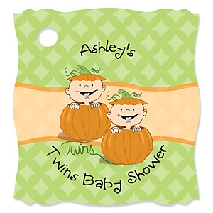 Twin Little Pumpkins Caucasian - Personalized Baby Shower Tags - 20 Count