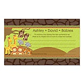 Twins Funfari™ - Fun Safari Jungle - Personalized Baby Shower Helpful Hint Advice Cards - 18 ct.