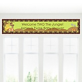 Twins Funfari™ - Fun Safari Jungle - Personalized Baby Shower Banner
