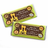 Twins Funfari™ - Fun Safari Jungle - Personalized Baby Shower Candy Bar Wrapper