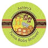 Twins Funfari™ - Fun Safari Jungle - Personalized Baby Shower Round Sticker Labels - 24 Count