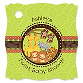 Twins Funfari™ - Fun Safari Jungle - Personalized Baby Shower Tags - 20 Count