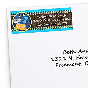 Twin Under The Sea Critters - Personalized Baby Shower Return Address Labels - 30 ct