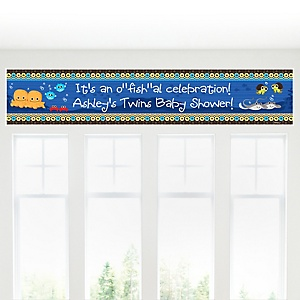 Twin Under The Sea Critters - Personalized Baby Shower Banner