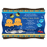 Twin Under The Sea Critters - Personalized Baby Shower Invitations