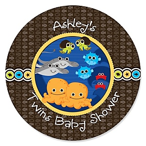 Twin Under The Sea Critters - Personalized Baby Shower Round Sticker Labels - 24 Count
