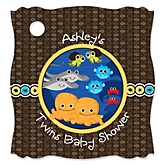 Twin Under The Sea Critters - Personalized Baby Shower Tags - 20 Count