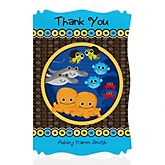 Twin Under The Sea Critters - Personalized Baby Shower Thank You Cards